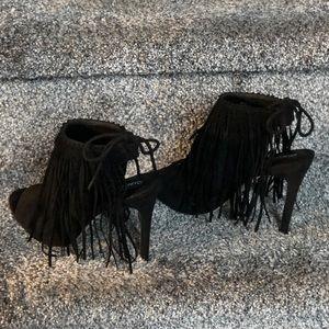 Black Suede Tie Back Sandal